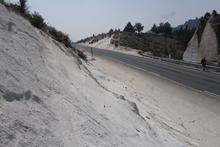 Road cut through sandstone