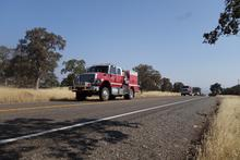Fire trucks behind us