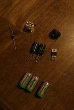 Parts for one charger: regulator and batteries.